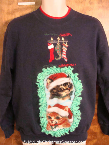 Crazy Cat Lady Favorite Tacky Christmas Sweatshirt