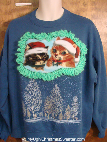 Blue Tacky Christmas Sweatshirt with Two Cute Cats in Santa Hats