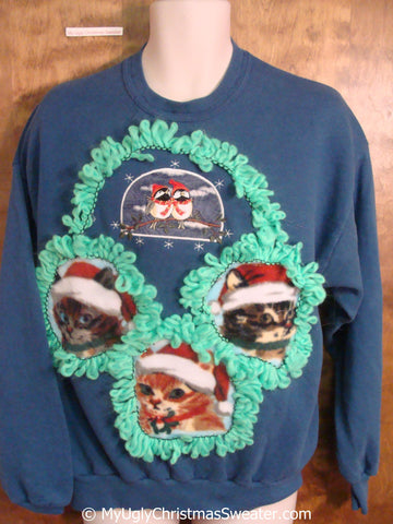Festive Cat Trio Tacky Christmas Sweatshirt