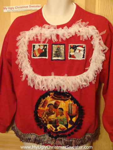 Ugly Kwanzaa Kwanza Tacky Sweatshirt with Fringe (q53)