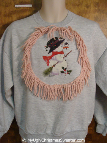 Cheap Tacky Christmas Sweatshirt with Snowman with Bird