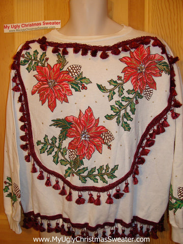 Retro 80s Ugly Christmas Tacky Sweatshirt Poinsettias with Fringe (q54)