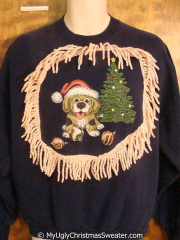 Cute Dog and Tree Tacky Christmas Sweatshirt