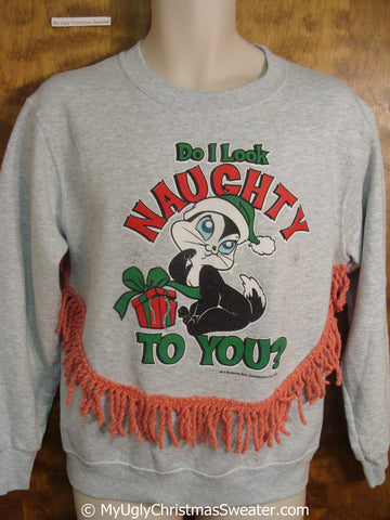 Naughty Skunk 80s Tacky Christmas Sweatshirt