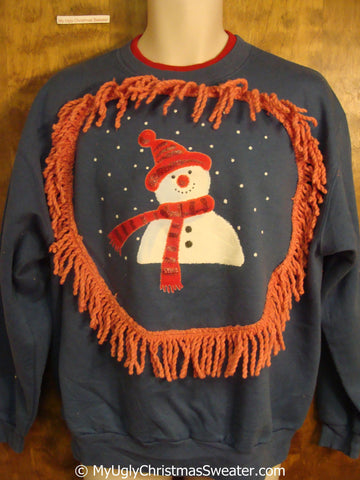 Happy Snowman in the Snow Tacky Christmas Sweatshirt