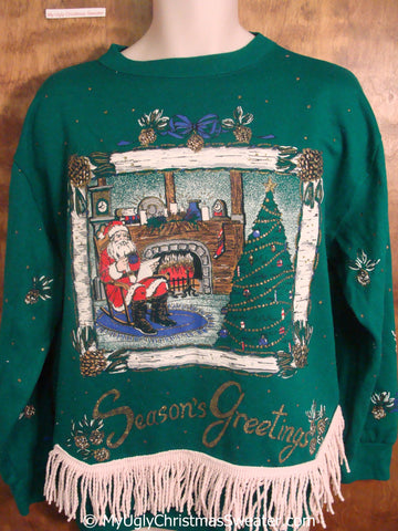 Santa at the Fireplace Tacky Christmas Sweatshirt