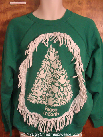 Green PEACE ON EARTH Tacky Christmas Sweatshirt