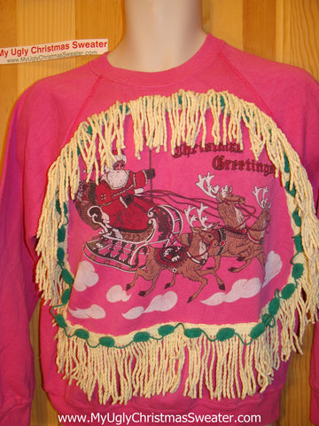 Pink Ugly Christmas Tacky Sweatshirt Santa & his Sleigh with Fringe (q55)