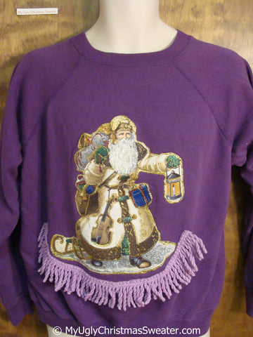 Crafty Homemade Purple Tacky Christmas Sweatshirt