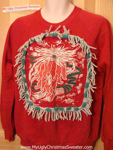 Ugly Christmas Tacky Sweatshirt 80s Style Giant Poinsettia with Fringe (q56)