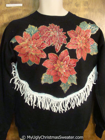 Homemade Red Poinsettia Themed Tacky Christmas Sweatshirt