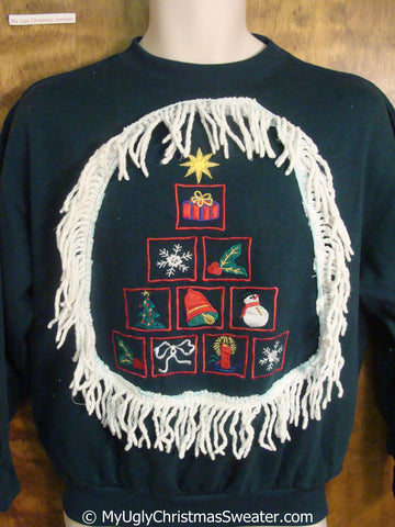 Tree Made of Festive Blocks Tacky Christmas Sweatshirt