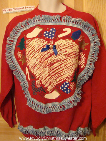 Ugly Christmas Tacky Sweatshirt Crafty 80s Retro Heart with Fringe (q57)