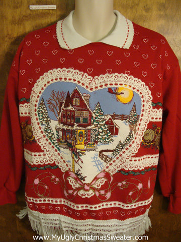 Tacky Heart and House Christmas Sweatshirt