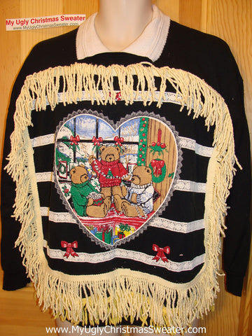 Ugly Christmas Tacky Sweatshirt 80s Retro Bear with Fringe (q58)