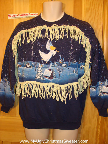 Ugly Christmas Tacky Sweatshirt Retro 80s Winter Wonderland 2-sided Scene with Fringe (q59)