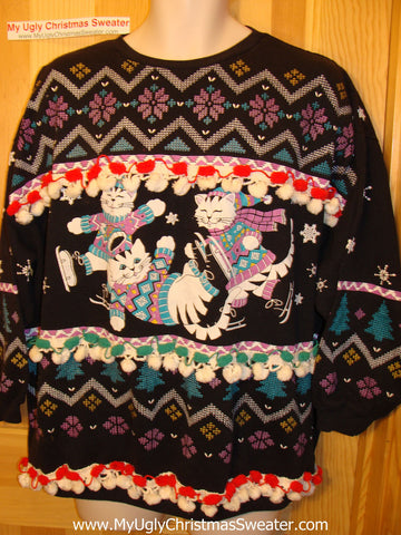 Retro 80s Festive Cats Ugly Christmas Tacky Sweatshirt Fringe (q60)