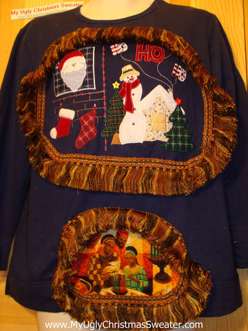 Ugly Kwanzaa Kwanza Tacky Sweatshirt with Fringe (q61)