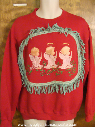 Angel Trio Red Christmas Sweatshirt