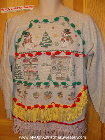 Ugly Christmas Tacky Sweatshirt Retro 80s Classic Scene with Fringe (q62)