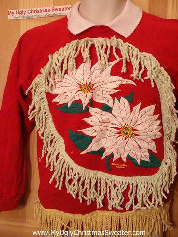 Ugly Christmas Tacky Sweatshirt Poinsettias with Fringe (q63)