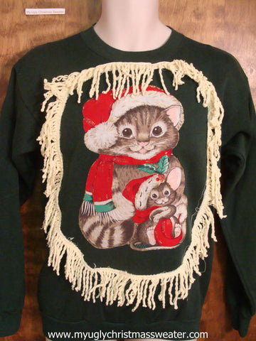 80s Cat and Kitten Christmas Sweatshirt