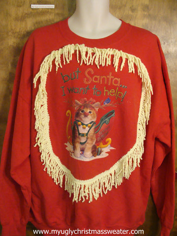 Helpful Cat Christmas Sweatshirt