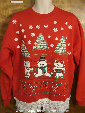 Tacky 80s Bears Red Christmas Sweatshirt