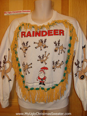 It's raining Reindeer. Retro 80s Funny Ugly Christmas Tacky Sweatshirt Santa with Fringe (q66)