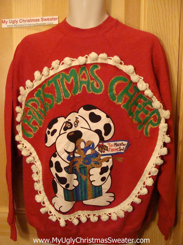 Ugly Christmas Tacky Sweatshirt Dog Christmas Cheer with Fringe (q67)