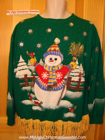 Retro 80s Giant Snowman Ugly Christmas Tacky Green Sweatshirt with Fringe (q68)