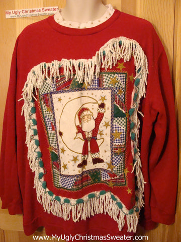 Ugly Christmas Tacky Red Sweatshirt Santa with Fringe (q69)