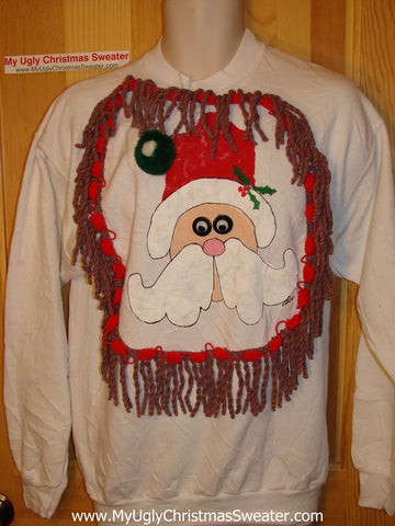 Ugly Christmas Tacky Sweatshirt Google Eyed Santa with Fringe (q6)