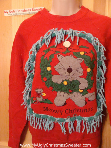 Ugly Christmas Tacky Red Sweatshirt Cat with Fringe (q71)