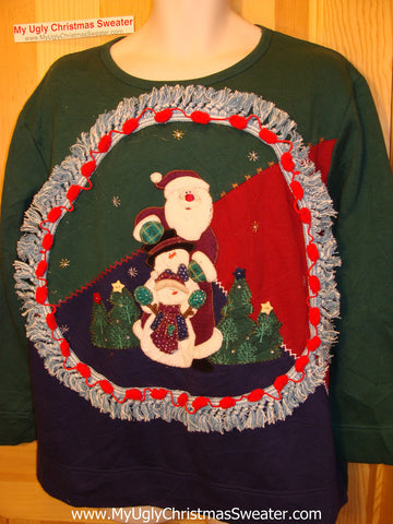 Ugly Christmas Tacky Sweatshirt Santa with Fringe (q72)