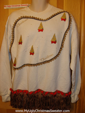 Ugly Christmas Tacky Sweatshirt Bling Accents with Fringe (q73)