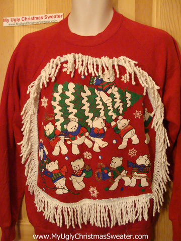 Retro 80s Gem. Ugly Christmas Tacky Sweatshirt Festive Bears with Fringe (q74)