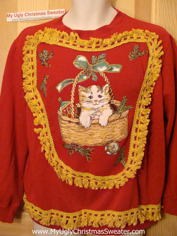 Ugly Christmas Tacky Sweatshirt 80s Retro Homey Cat with Fringe (q76)