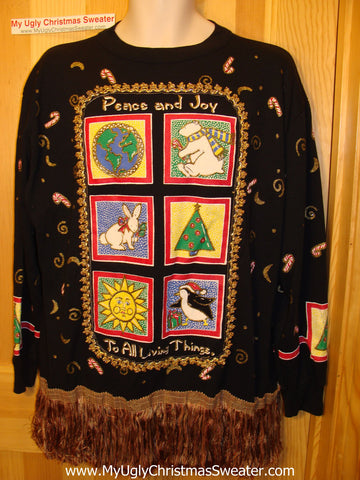 Retro 80s Ugly Christmas Tacky Sweatshirt Glittery with Massive Fringe (q77)
