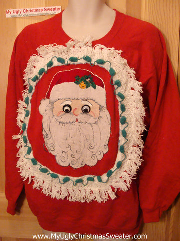 Retro 80s Ugly Christmas Tacky Sweatshirt Google Eyed Santa with Fringe (q78)