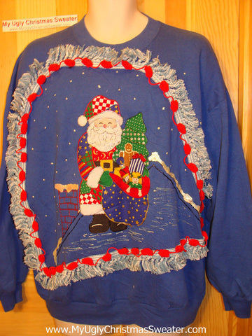 Ugly Christmas Tacky Sweatshirt 80s Crafty Santa with Fringe (q79)