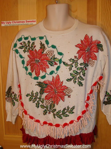 Ugly Christmas Tacky Sweatshirt 80s Poinsettias with Fringe (q7)