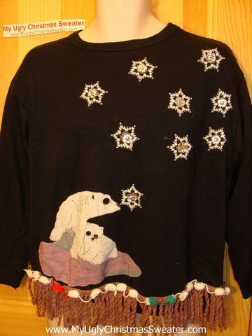 Ugly Christmas Tacky Sweatshirt Crafty 80s Bears Fringe (q80)