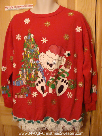 Ugly Christmas Tacky Sweatshirt 80s Google Eyed Bear with Fringe (q81)