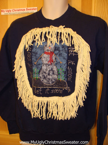 Horrible Funny Ugly Christmas Sweatshirt Snowman 'Let it Snow'