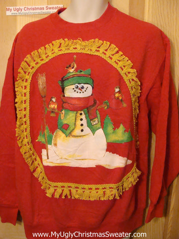 Horrible Red Funny Ugly Christmas Sweatshirt Happy Snowman