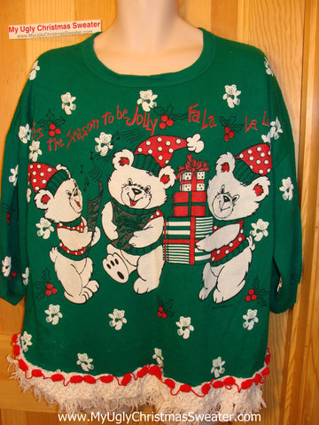 Horrible 80s Funny Ugly Christmas Sweatshirt Bears