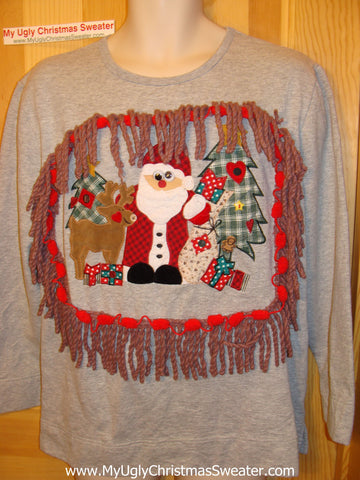 Horrible Funny Ugly Christmas Sweatshirt Fringe Santa