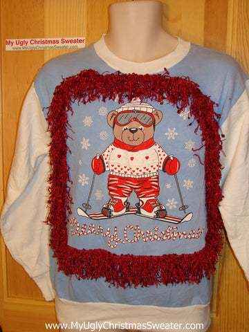 Ugly Christmas Tacky Sweatshirt Skiing Bear with Fringe (q8)