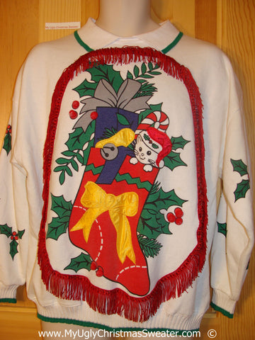 Horrible Funny Ugly Christmas Sweatshirt 80s Cat Stocking
